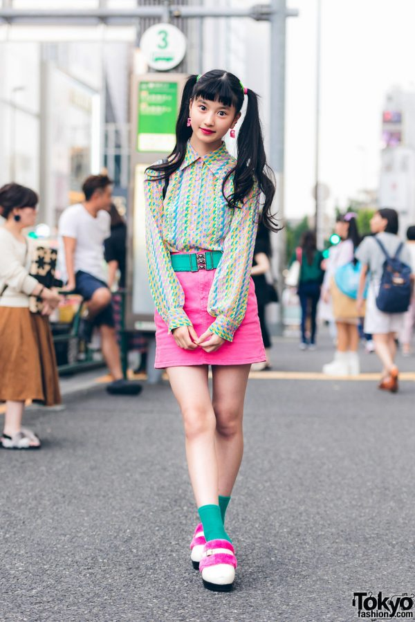 Japanese Model & Actress in Colorful Street Style w/ Vintage Denim Skirt, Hand-Me-Down Quilted Backpack & G2? Ruffle Belt