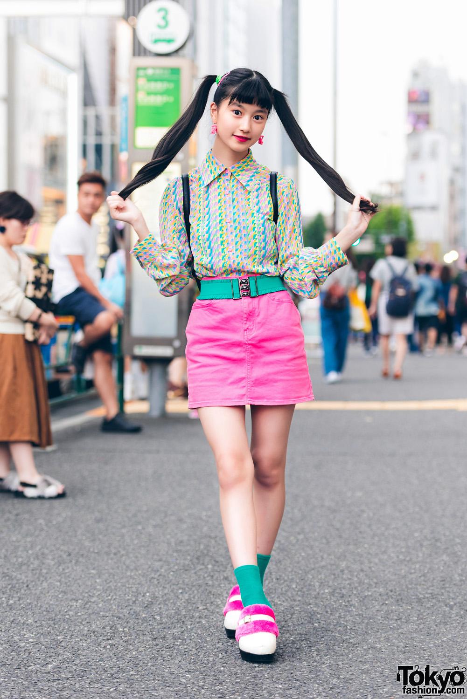 Harajuku Model/Actress in Vintage Printed Dress, WEGO, G2
