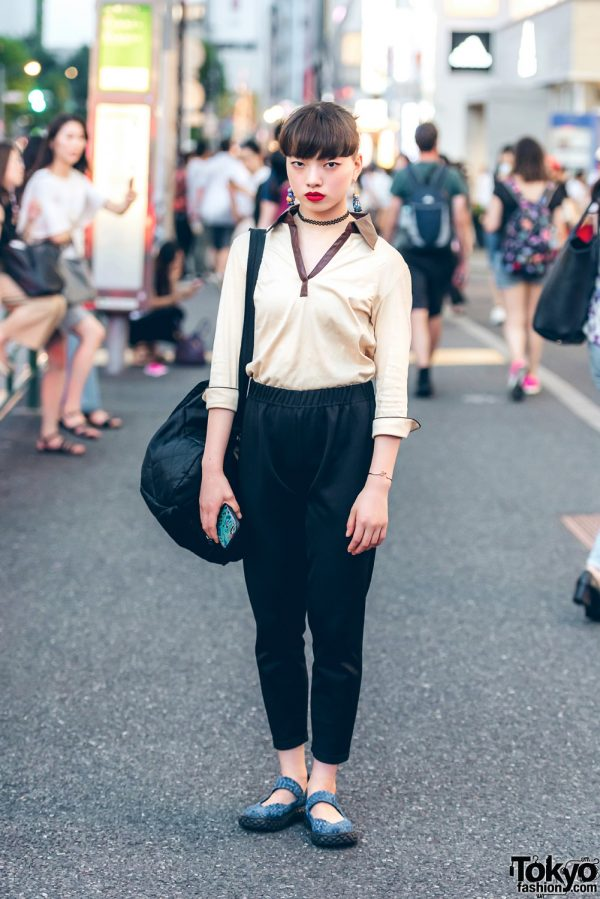 Harajuku Dancer in Vintage Street Ensemble w/ Cute Plants Vs. Zombies Earrings & Tattoo Choker