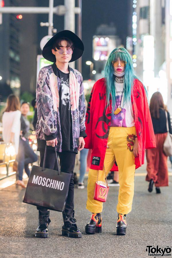 Stylish Harajuku Duo in UNIF, ABVHVN, Dolls Kill, Moschino, Roukeys, O-Mighty, Dog Harajuku & Pinnap