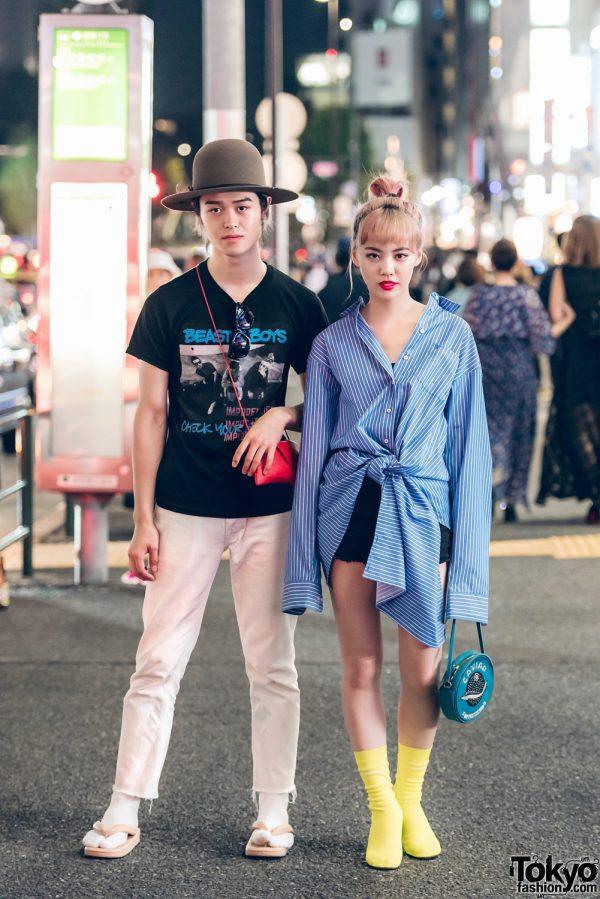 Harajuku Duo in Stylish Casual Streetwear w/ Beastie Boys Band T-Shirt, Acne, Hender Scheme, Chrome Hearts, Vetements & Olympia Le-Tan