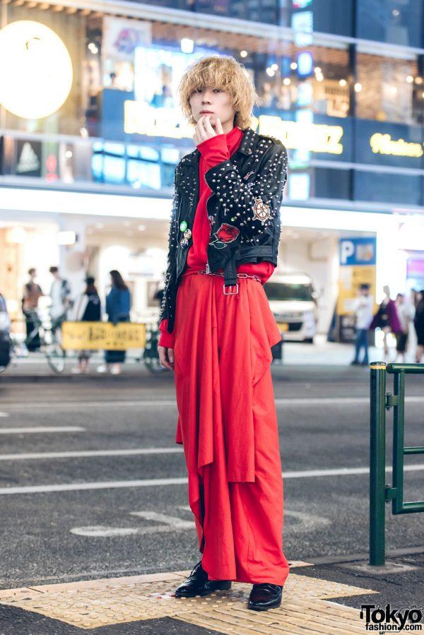Harajuku Guy in Edgy Black-and-Red Fashion w/ Zara Women & Takeo Kikuchi