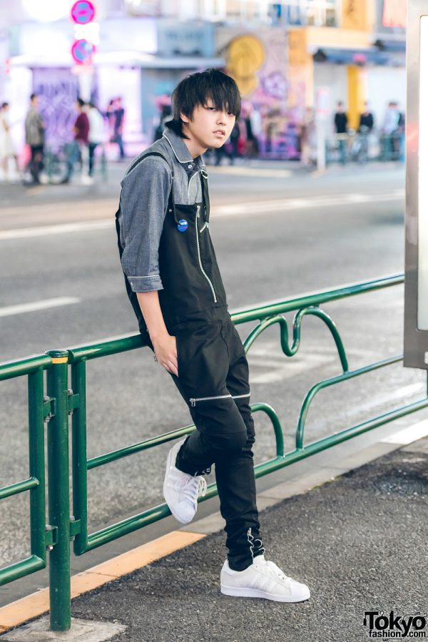 Minimalist Street Style w/ Vivienne Westwood Top, Black Overalls & White Sneakers