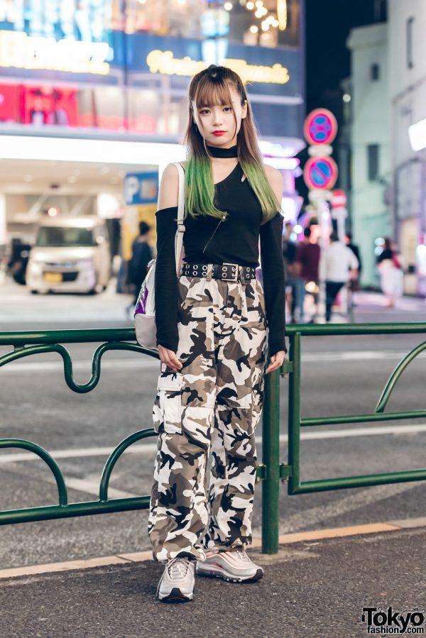 Harajuku Street Style w/ Resale Top, UNIF Bag & Nike Sneakers