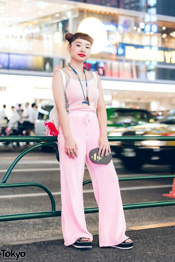 All Pink Sporty Street Style in Harajuku w/ Jouetie, JOYRICH, Stussy, Ambush & Gucci