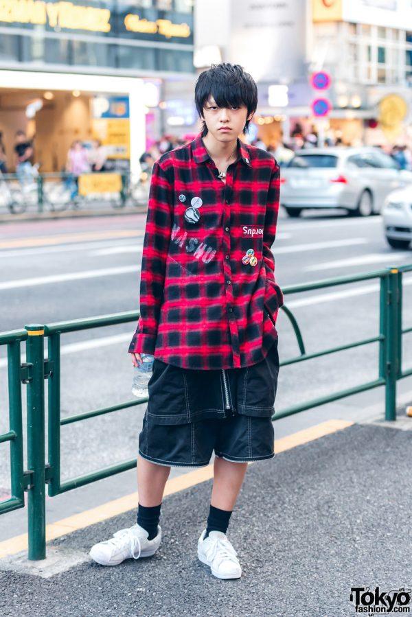 Harajuku Guy in Casual Streetwear Style w/ Nincompoop Capacity Skirt Over Shorts & Adidas Sneakers