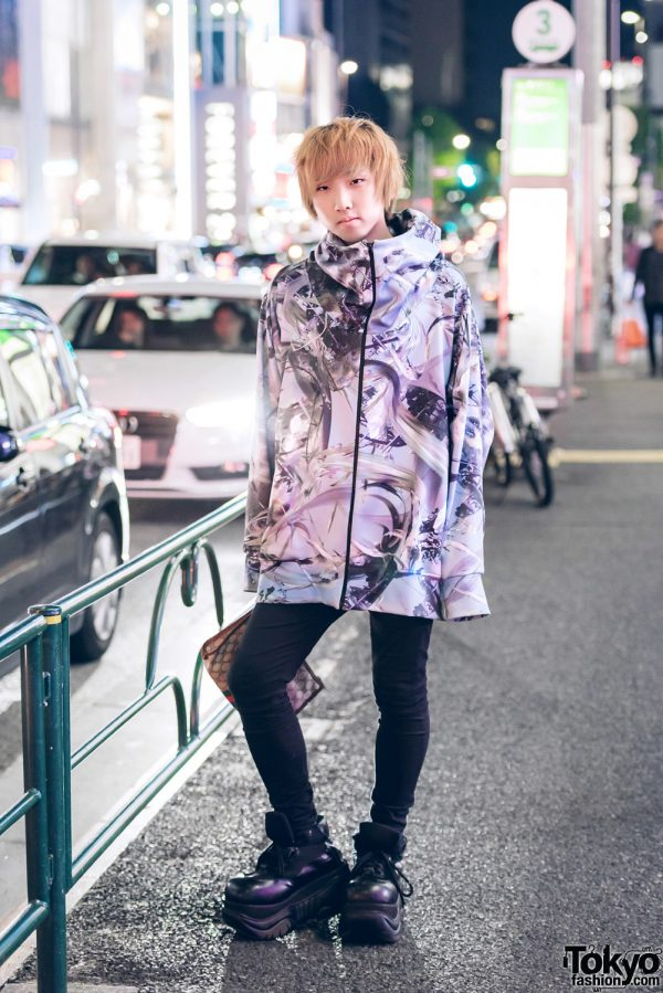 Graphic Streetwear Style in Harajuku w/ Balmung Hoodie, Gucci Clutch & Demonia Cyber Platform Sneakers