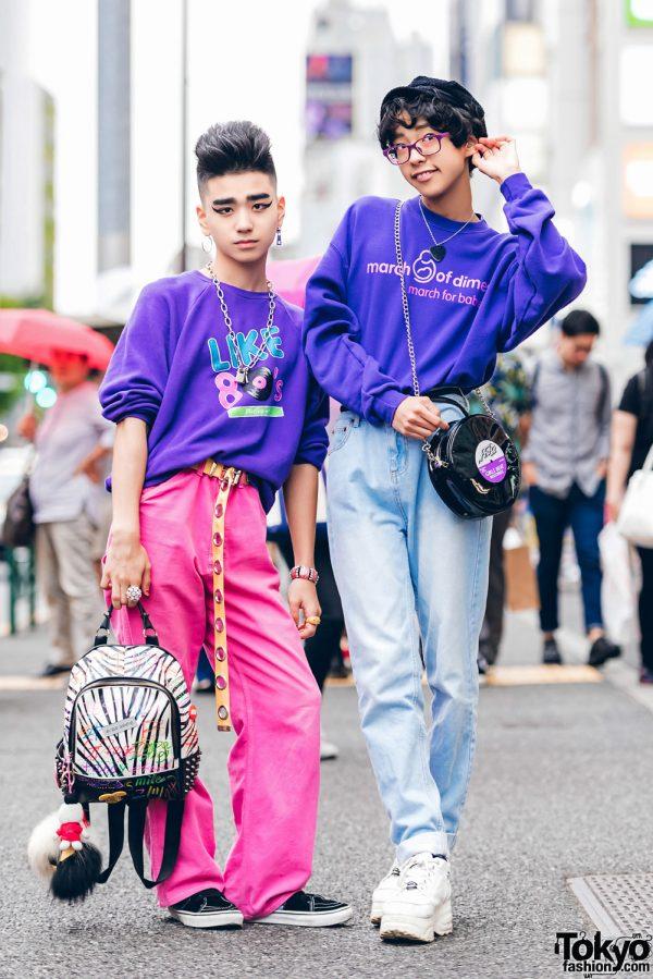 Purple Sweater Fashion Styles by Harajuku Guys w/ Peco Club, Romantic Standard, Vans, Nishikaigan & Yosuke
