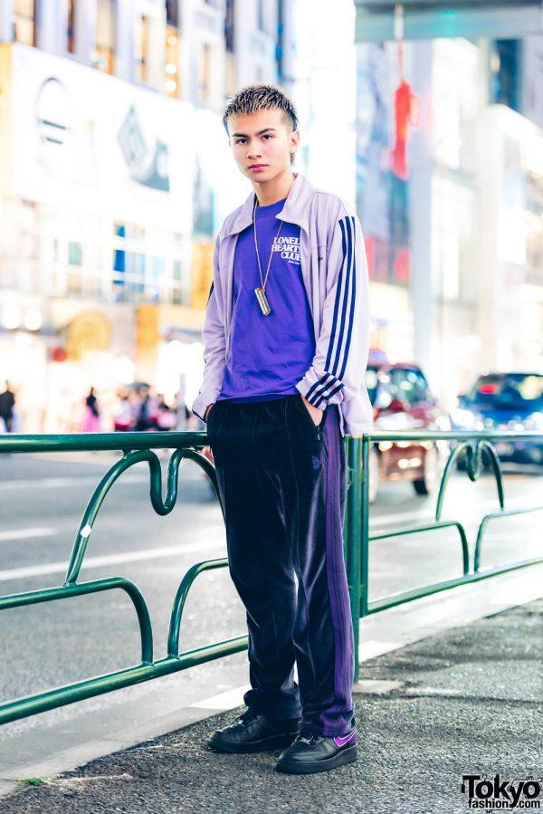 Purple Streetwear Fashion in Harajuku w/ Adidas, Nike, Palm Angels, Needles & Ambush