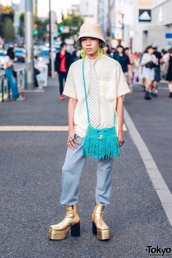 Vintage Street Fashion in Harajuku w/ Linen Collar Shirt, Platform Snakeskin Boots, Bucket Hat & Fringe Bag