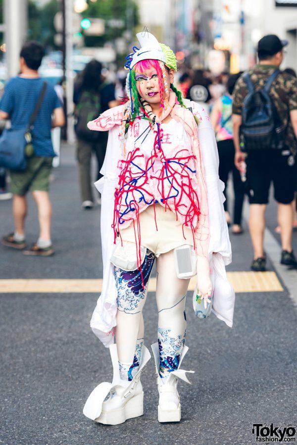 Handmade Harajuku Street Fashion w/ Japanese Ukiyo-e Tights, Koji Kuga Boots, Randoseru & Remake Cap