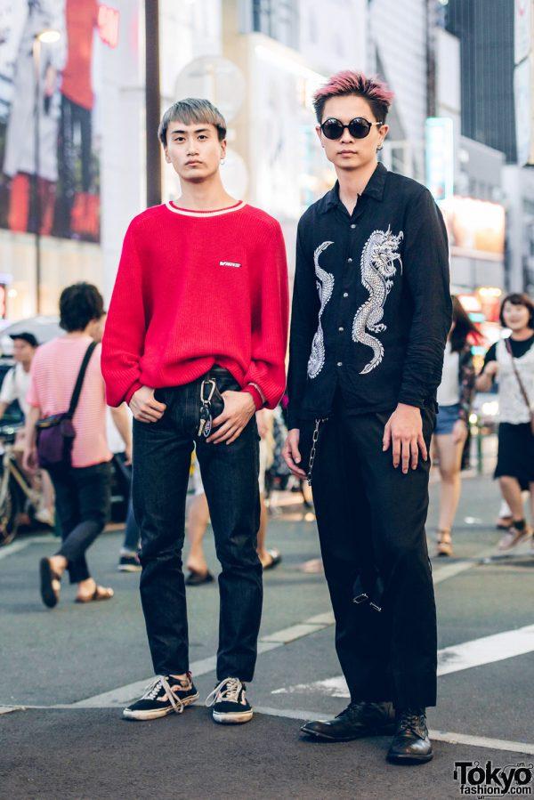Two Tone-Haired Harajuku Guys in Cool Streetwear Styles w/ Vans, Leverado, Yohji Yamamoto & This By Inari