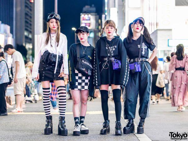 Harajuku Girl Group in Monochrome Streetwear w/ MYOB NYC, Faith Tokyo, 99%IS, Eria/Area & Open The Door