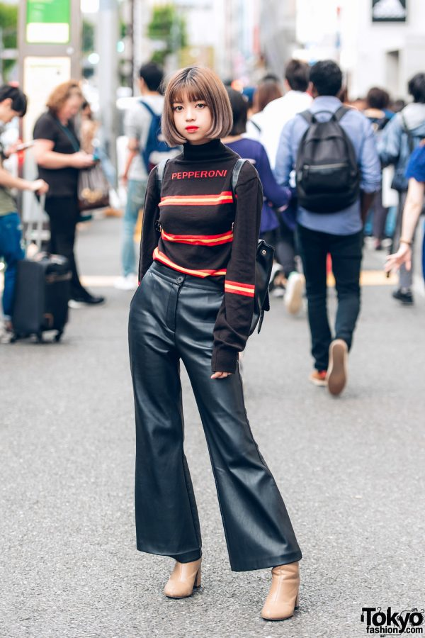 Japanese Student in Pepperoni Sweater and Faith Tokyo Leather Pants