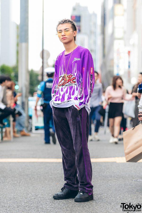 Harajuku Guy in All-Purple Streetwear w/ 032c, Needles, Nike & Ambush
