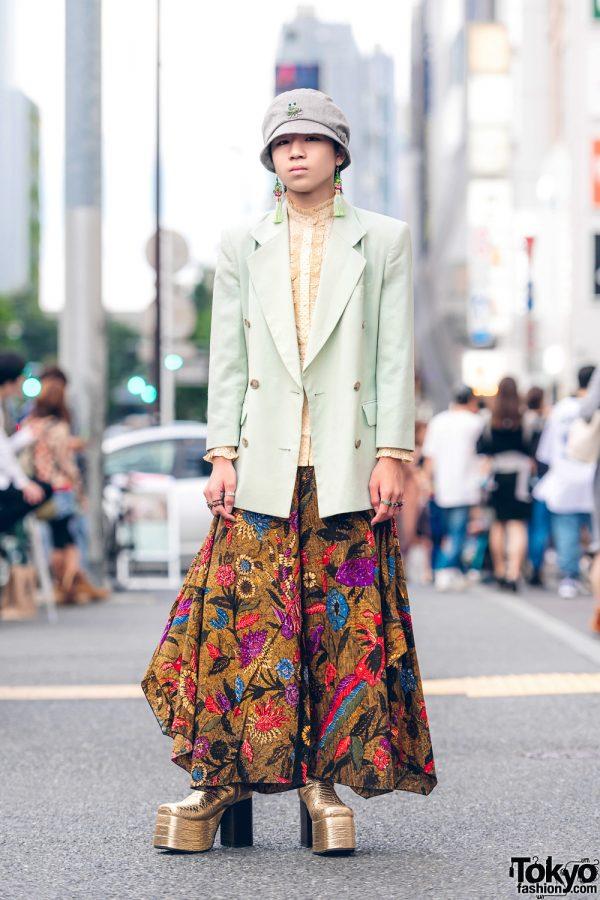 Harajuku Guy in Floral Print Skirt Fashion w/ Kinji, Thrift Tokyo & Vintage Metallic Boots