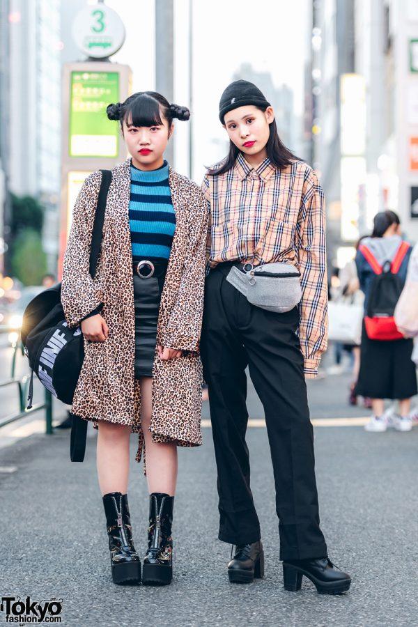 Japanese Leopard Print & Plaid Street Styles w/ Funktique, H&M, Bubbles, UNIF, Burberry, Kangol & WEGO