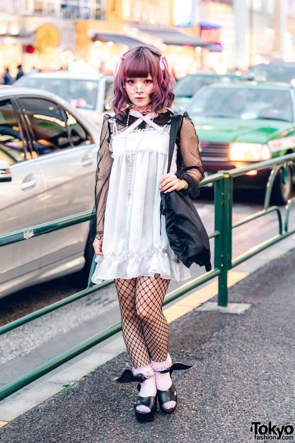 Pink-Haired Japanese Artist in RoseMarie Seoir Dress, Honey Salon Bag & Vivienne Westwood x Melissa Shoes