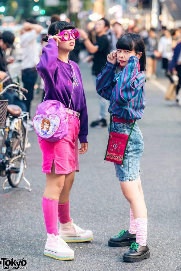 Harajuku Teens in Colorful Vintage Street Fashion