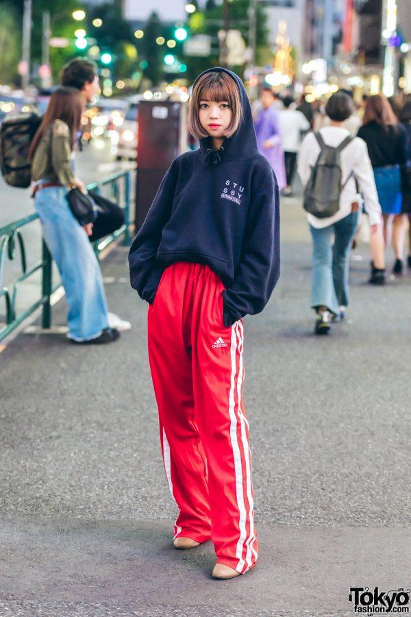Harajuku Girl in Sporty Chic Street Fashion w/ Stussy & Adidas