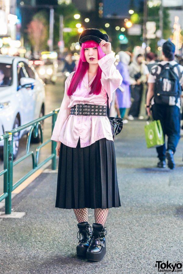 Harajuku Girl w/ Pink Hair, Piercings, Pleated Skirt, Wide Grommet Belt, Fishnets & Yosuke Boots