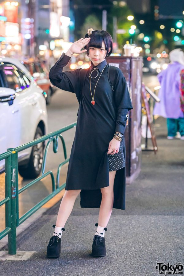 Harajuku Girl in Monochrome Street Style w/ T-Shirt Dress, Polka Dot Shorts & Suede Platform Shoes