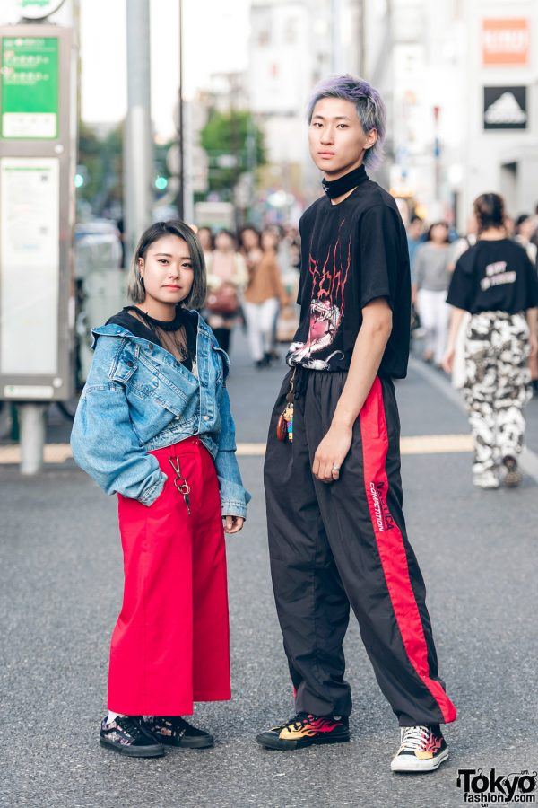 Harajuku Duo in Black-and-Red Streetwear w/ Levi's, RNA, Sarcastic & Co., Vans, MISBHV, Nautica & Converse