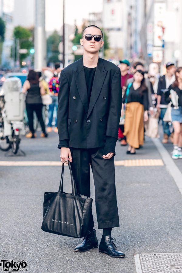 Japanese Model in All-Black Yohji Yamamoto Y's Menswear Street Fashion