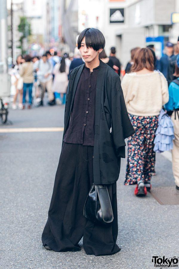 All Black Minimalist Kimono Fashion w/ Ceci, George Cox & Gucci Triangle Handbag