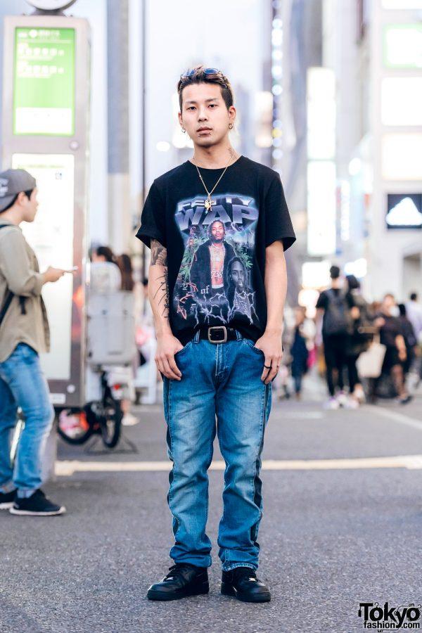 Kinji Harajuku Staffer in Fetty Wap Venturer Graphic Tee, Big John Jeans & Nike Sneakers
