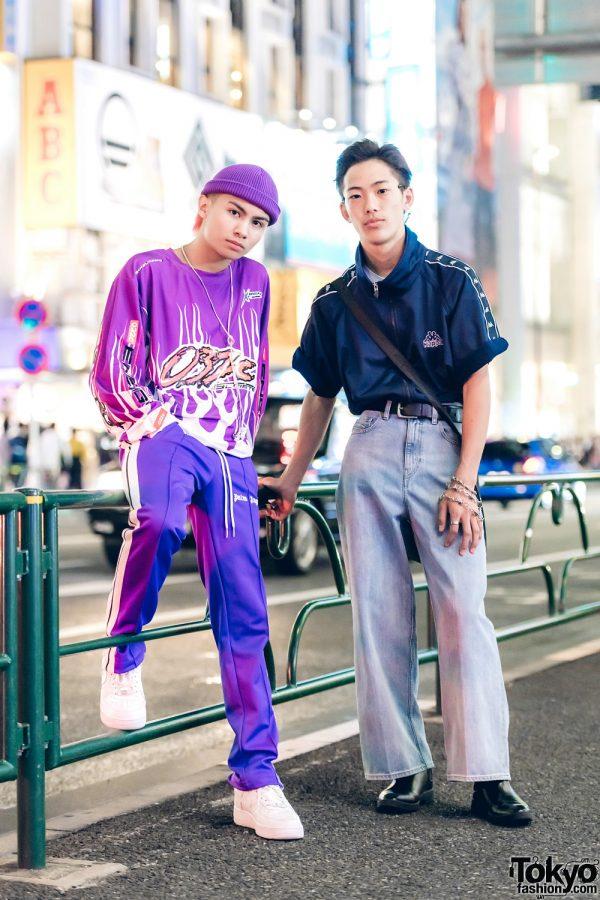 Harajuku Duo in Casual Street Styles w/ Kappa, 032C, Palm Angels, Nike Air Force 1, Zara & Yoko Fuchigami