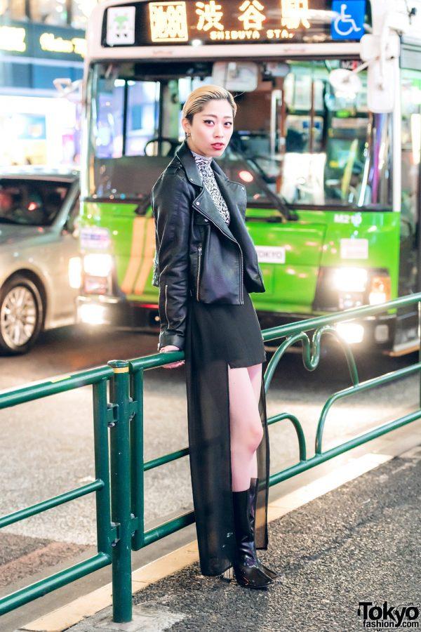 Edgy All-Black Harajuku Street Fashion w/ Leather Jacket & Pointy-Toe Boots