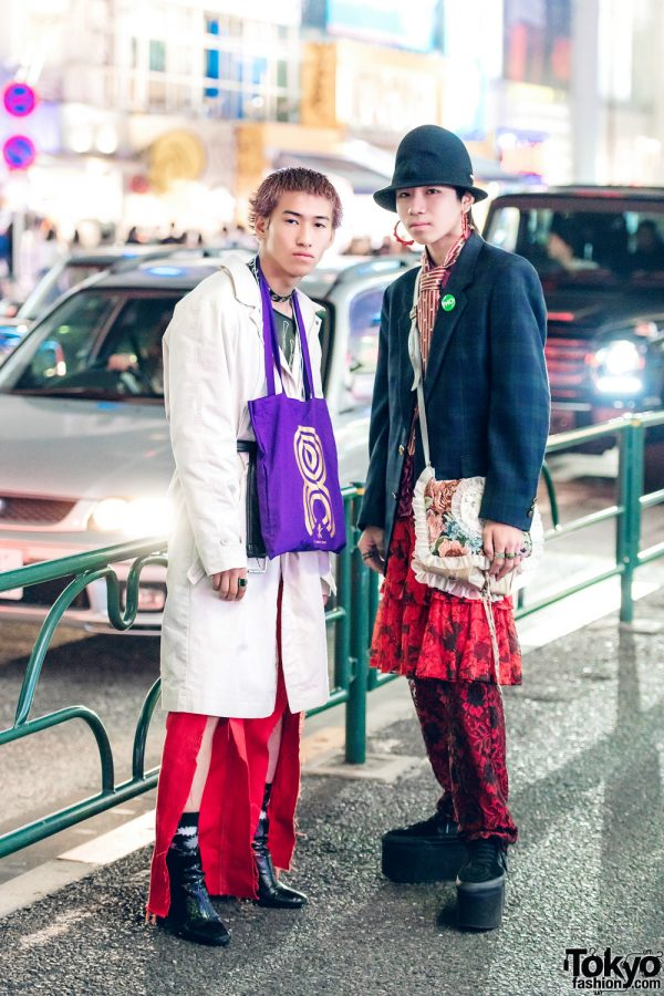 Harajuku Teens in Vintage Menswear Street Fashion