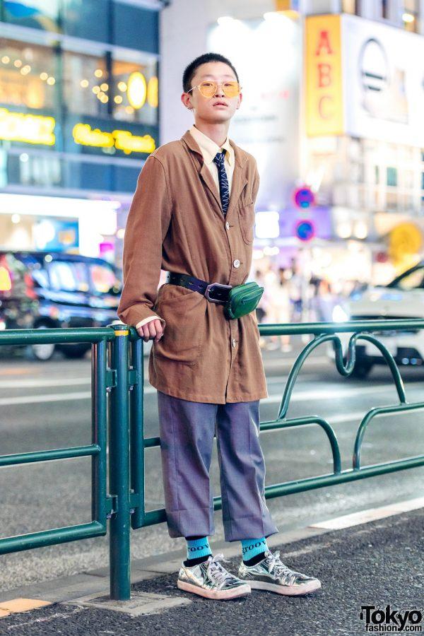 Japanese Teen in Retro Men's Fashion w/ QUN Tokyo Metallic Sneakers & Kenzo Belt Bag
