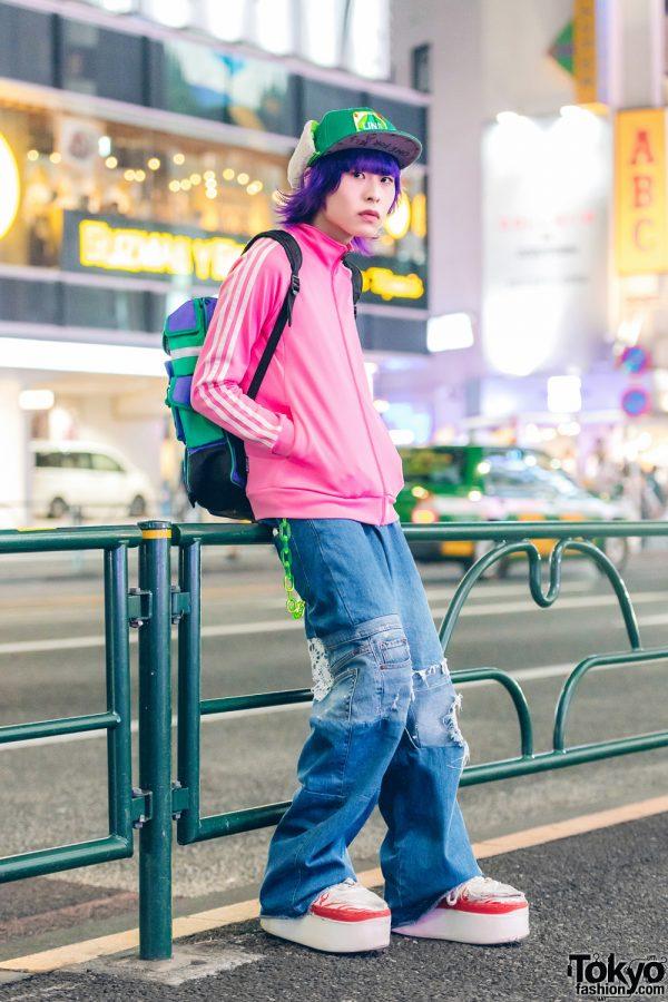 Purple-Haired Harajuku Guy in Colorful Streetwear w/ Adidas Jacket & Platform Sneakers