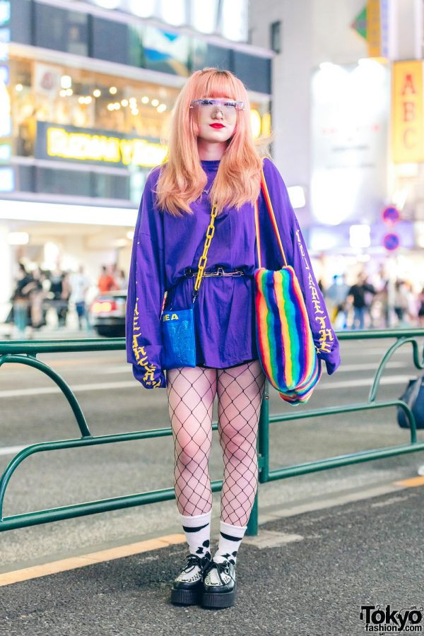 Pink-Haired Harajuku Girl in Colorful Streetwear Fashion w/ L.H.P., Kobinai, IKEA, Pinnap & Oh Pearl