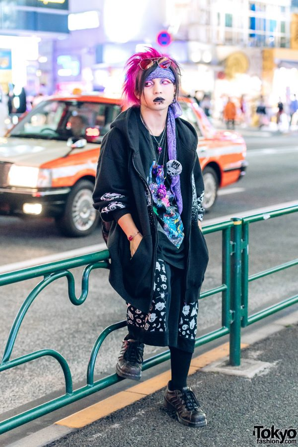 Japanese Designer w/ Pink Hair, Dark Harajuku Street Fashion & Handmade Accessories