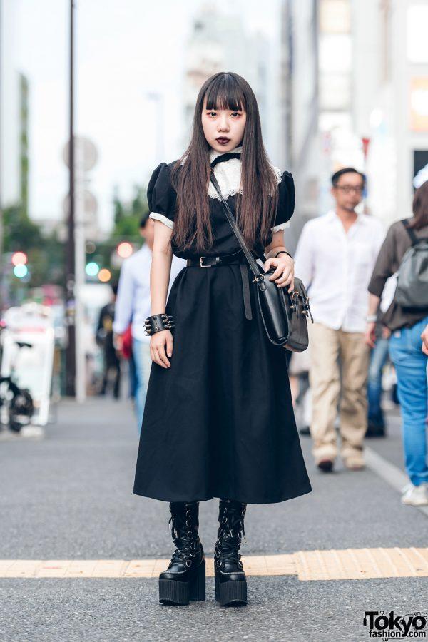 Dark Street Style in Harajuku w/ Vintage Lace Collar Dress, Leather Satchel Bag & Dolls Kill Platform Boots