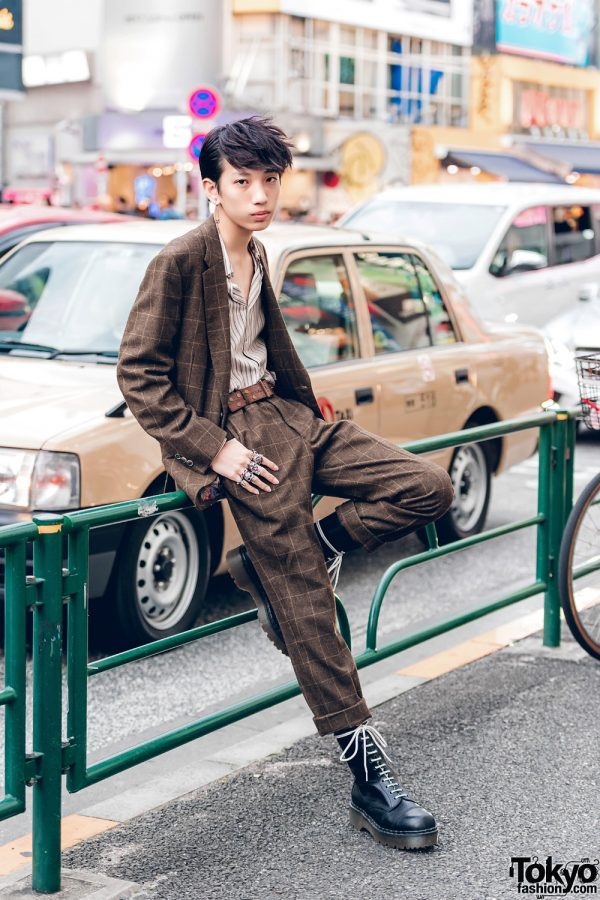 Paul Smith Tweed Suit & Dr. Martens Boots on The Street in Harajuku