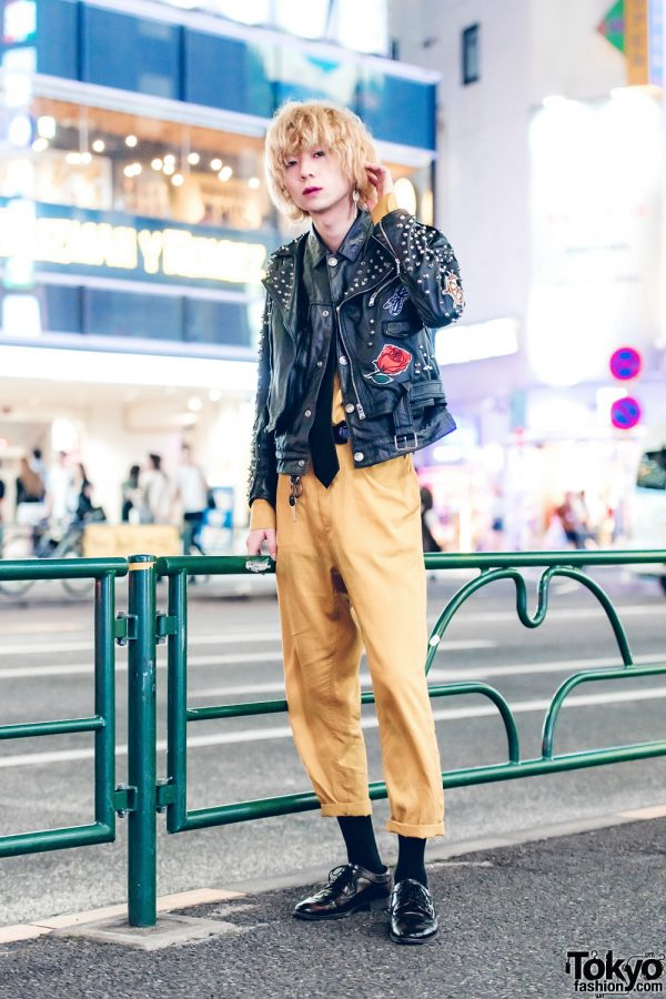Harajuku Guy in Edgy Streetwear w/ Studded Leather Jacket and Black Leather Lace-Up Shoes