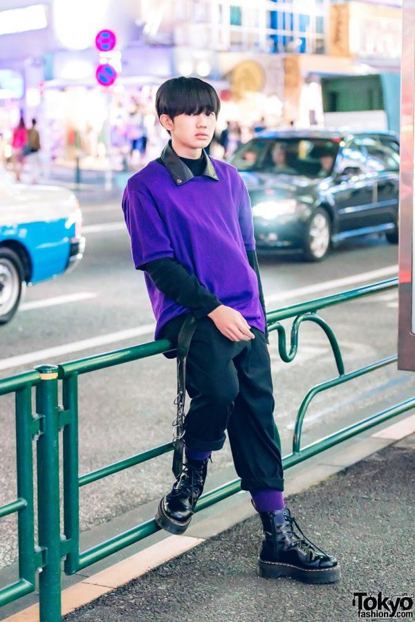 Harajuku Guy in Purple-and-Black Vintage Street Fashion
