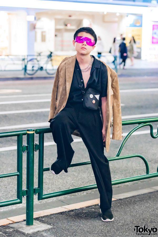 Dark Streetwear Fashion in Harajuku w/ Suede Blazer, GU Sneakers, Outdoor Sling Bag & Purple Glasses