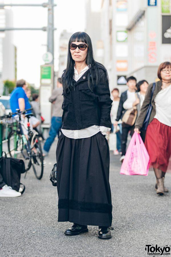 Minimalist Japanese Street Style w/ Yohji Yamamoto Layered Tops, Maxi Skirt & Buckle Boots