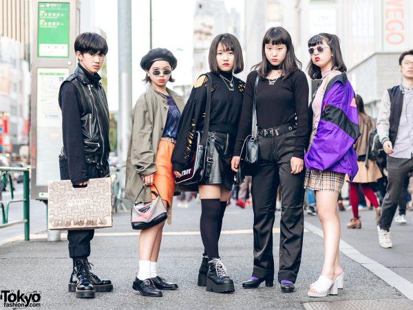 Harajuku Teen Group in Black & Eclectic Streetwear Fashion Styles