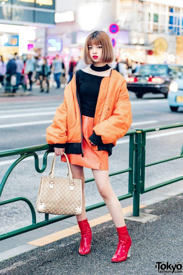Harajuku Girl in Orange Bomber Jacket & Orange Miniskirt w/ Faith Tokyo & Gucci