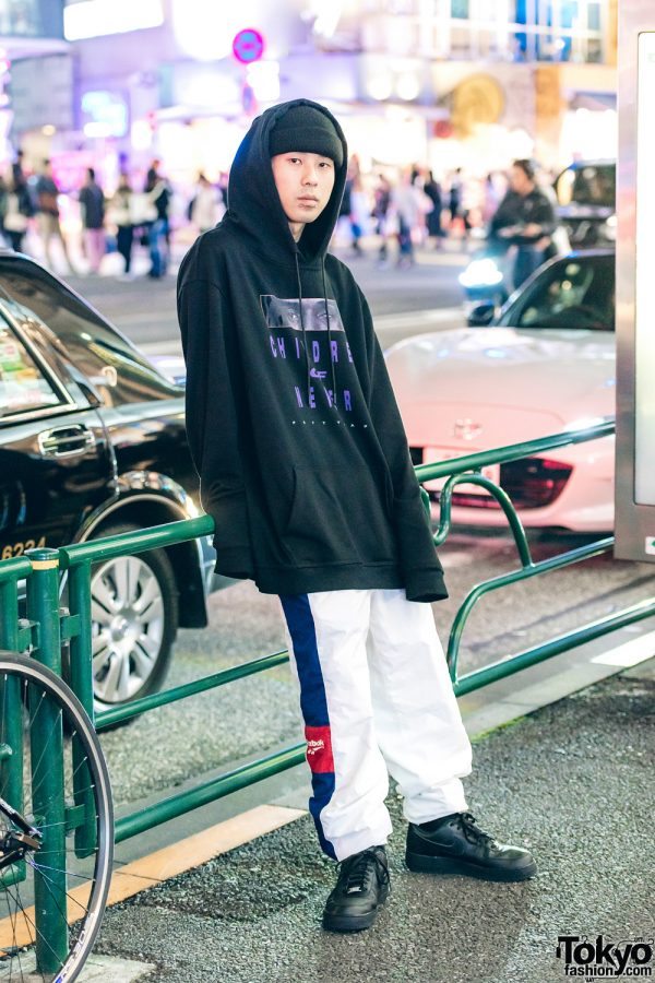 Kinji Staff in Black & White Streetwear w/ Venturer Hoodie, Reebok Track Pants & Nike Sneakers