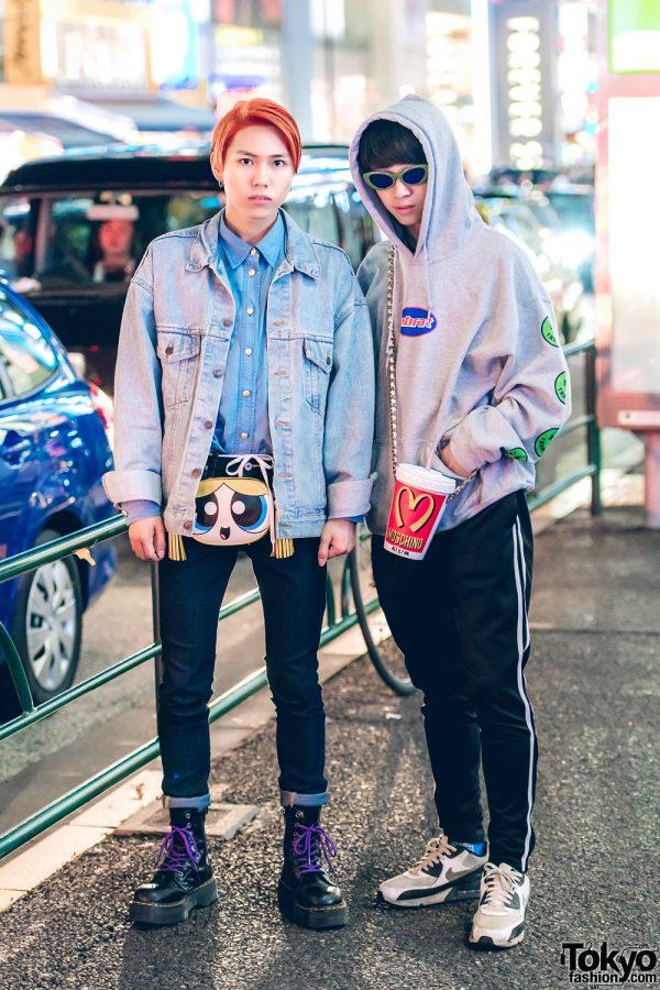Harajuku Guys in Casual Streetwear & Cheeky Moschino Bags