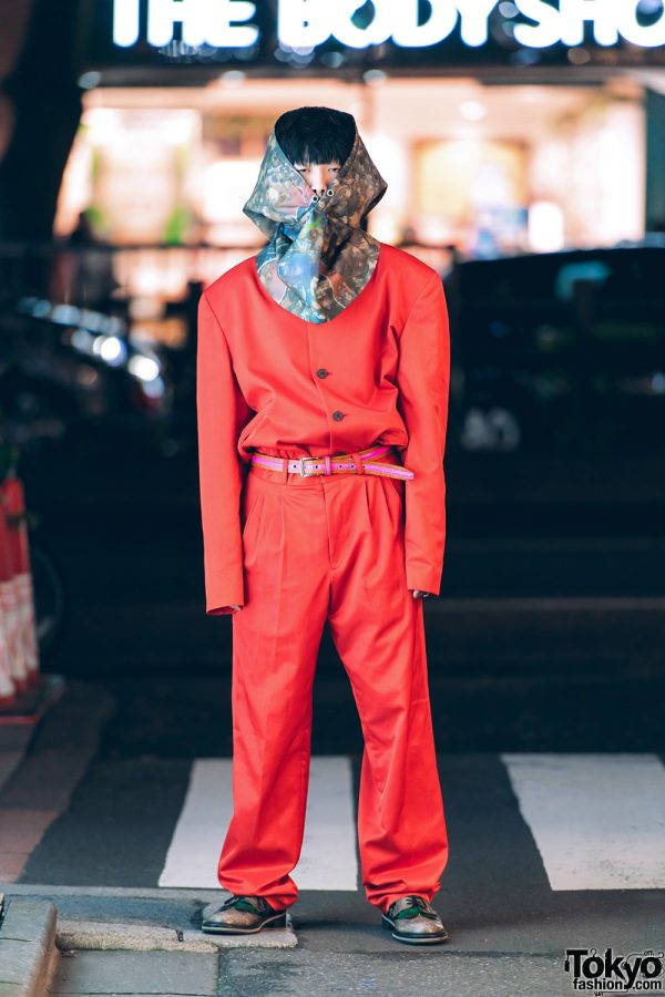 Harajuku Guy in All-Red Hooded Japanese Streetwear from Tokyo Vintage Shops