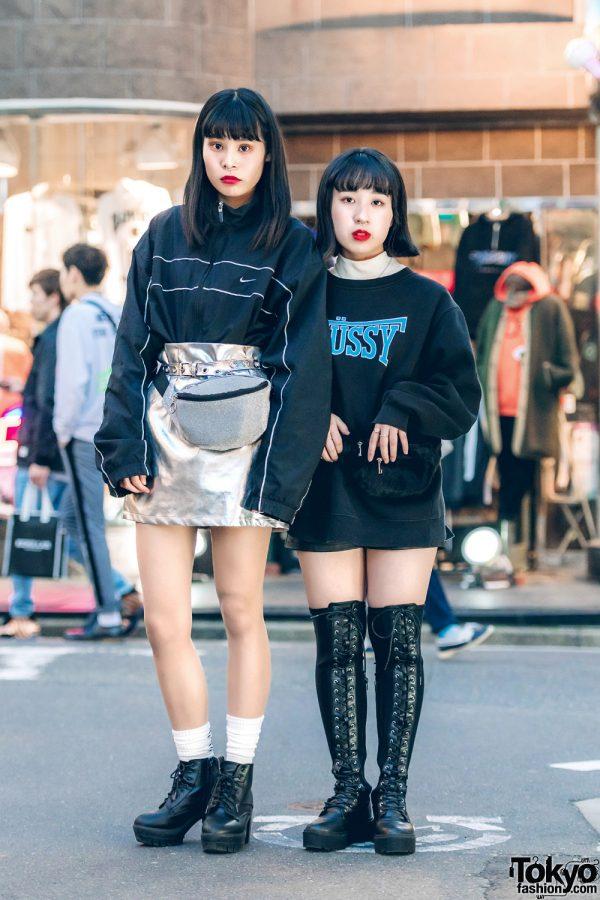 Harajuku Girls in Monochrome Streetwear w/ Silver Skirt, Crossbody Bags & Boots