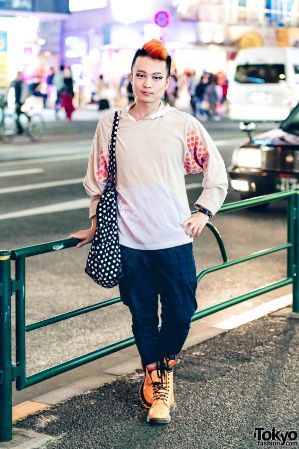 Japanese DJ Ohshi Uemoto in Casual Streetwear Fashion w/ MilkBoy, Vivienne Westwood & Dr. Martens
